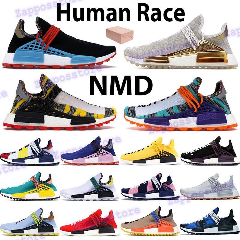 NMD Erkek Koşu Ayakkabıları İnsan Yarışı Hu Pharrell Güneş Kırmızı Turuncu Nerd Mavi Krem Çin Paketi Altın Şeftali Hue Scarlet Kadın Sneakers
