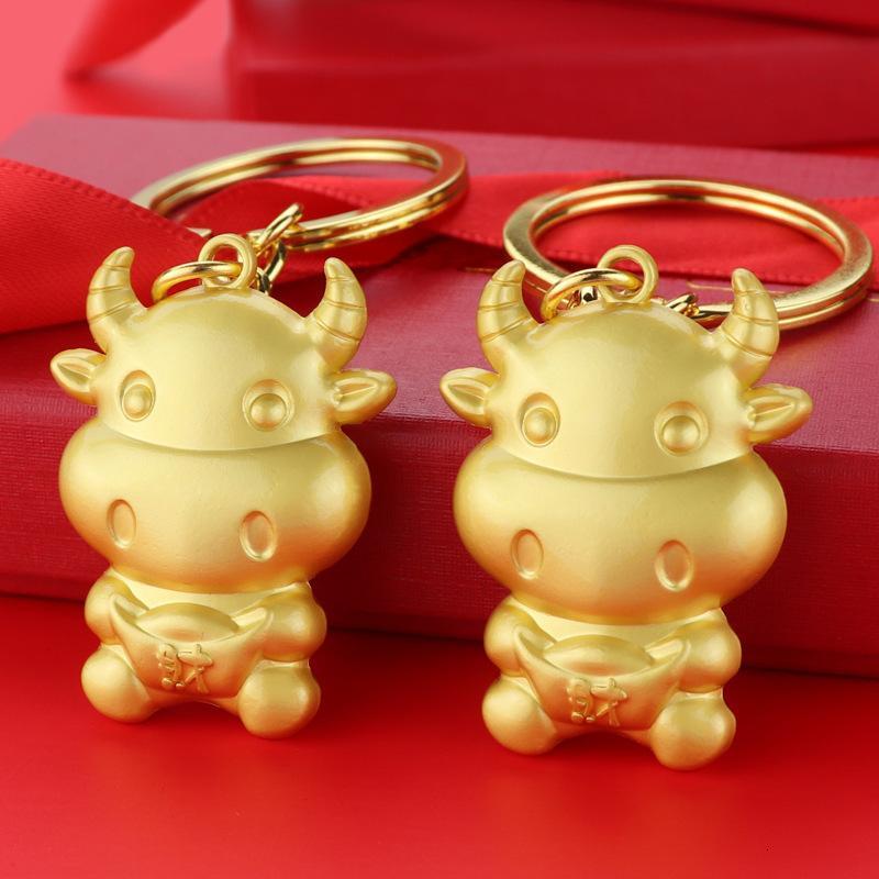 2021 Anno della catena del bue Metallo 12 Cinese Zodiac Mascot Key Pendant Company Incontro Annual Meeting Piccoli regali