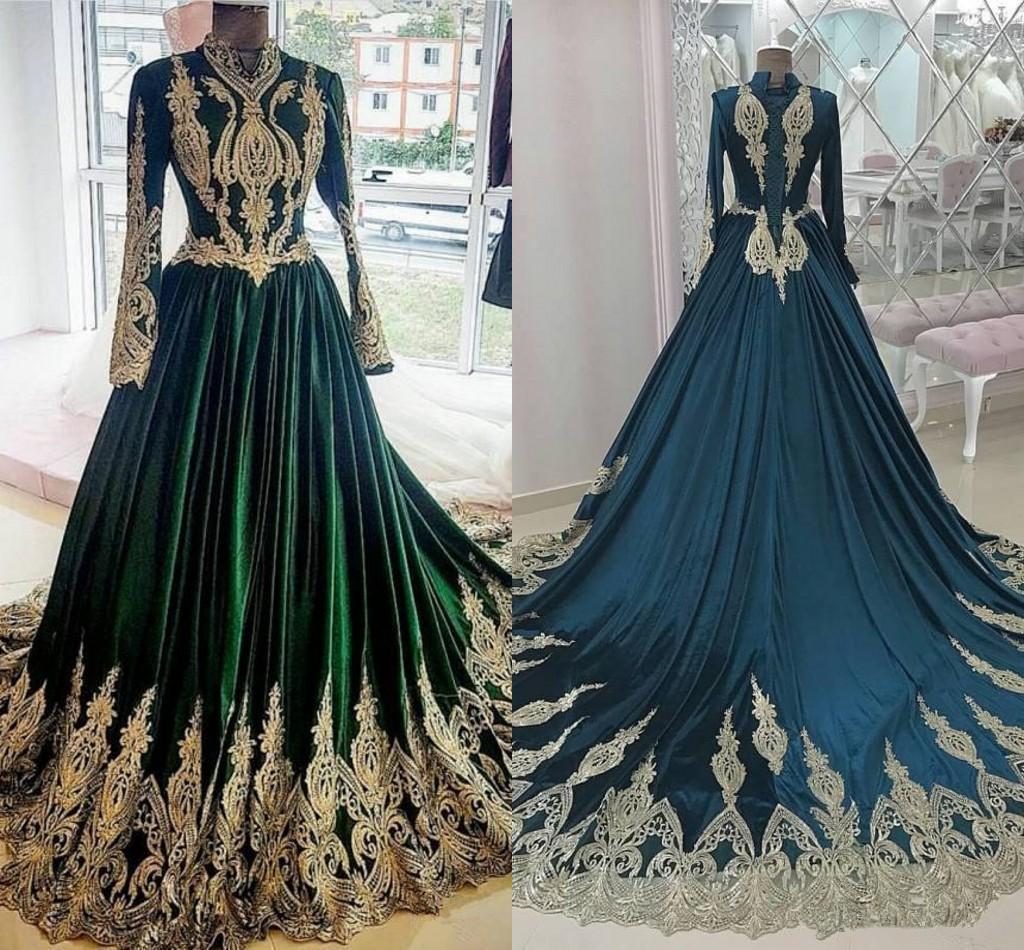 Elegante árabe kaftan marroquino travel desgaste vestidos de noite de noite mangas compridas de ouro appliques padrão escuro muçulmano mulheres vestido de baile