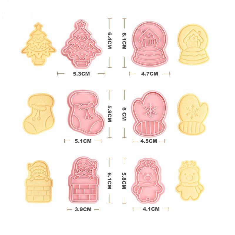DIY عيد الميلاد موضوع الخبز العفن البسكويت الجليد الكعك السكر البلاستيك الصحافة نوع العفن 3d مجموعة قوالب لوازم الطبخ 7 8RL F2