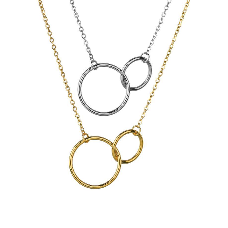 Collier en pendentif en cercle géométrique KPOP Collier en acier inoxydable couleur d'argent pour femmes bijoux COLLIER FEMME 2020 Z0123