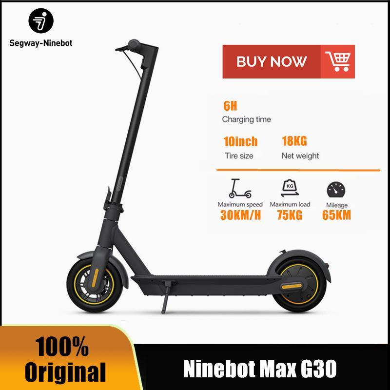 AB Hisse Senedi Orijinal Ninebot Segway Max G30 Akıllı Elektrikli Scooter Katlanabilir 65km Max Kilometre Kickscooter Çift Fren Kaykay G30P Uygulaması ile