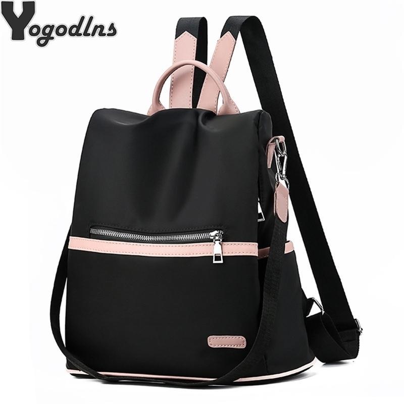 Casual Oxford Sac à dos Femmes Sacs scolaires Nylon imperméables Nylon noir pour adolescentes Haute Qualité Voyage Fashion Tote Packbag Y201224