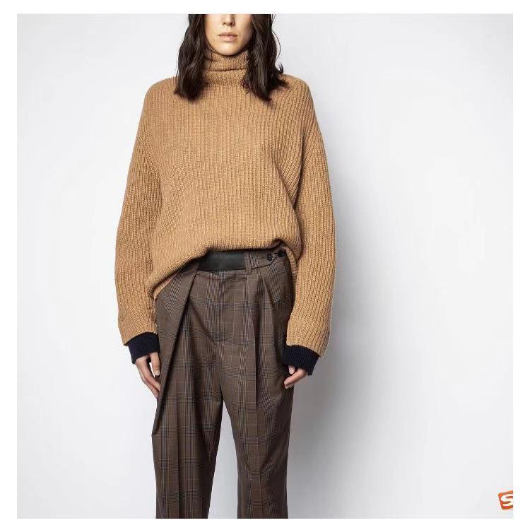Moda-2020 sonbahar ve kış yeni düz renk yaka uzun kollu çok yönlü dibe ve sıcak kadın kaşmir kazak