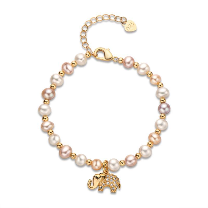 Aiyanishi 14K золотой браслет 4,5-6,5 мм натуральный пресноводный овальный жемчуг Прекрасный слон очарование браслет женщины свадебные украшения подарок