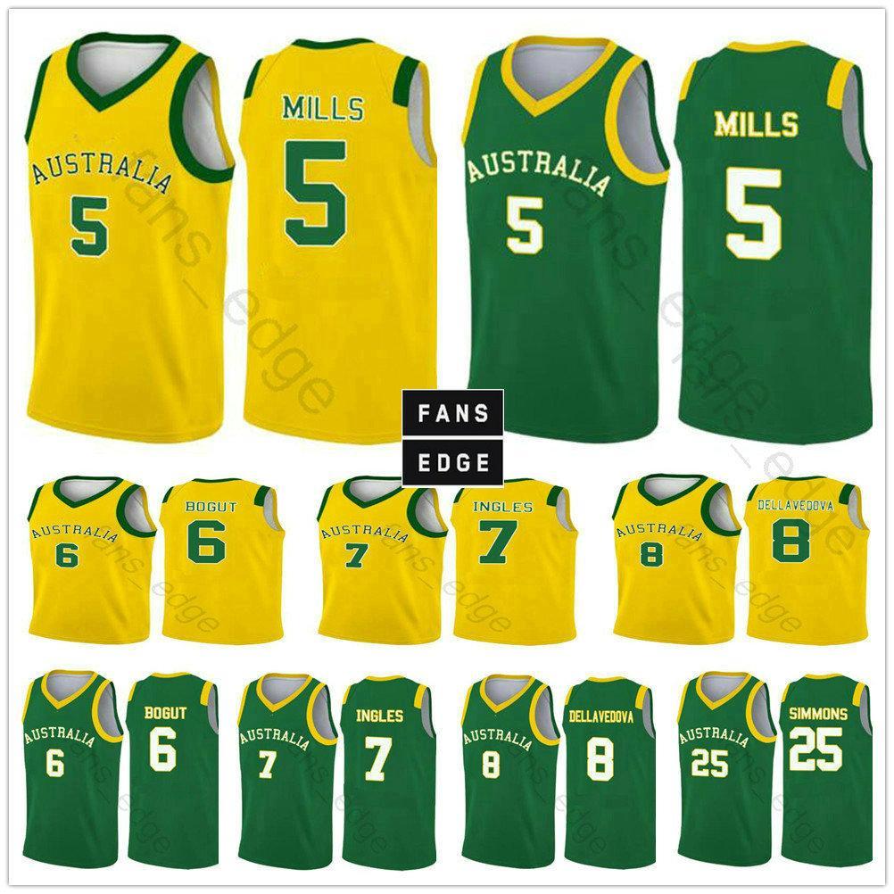 2019 كأس العالم فريق أستراليا كرة السلة الفانيلة 5 باتي ميلز 12 آرون باي ستينز 8 ماثيو ديلافيدوفا 6 أندرو بوجوت 11 Landale مطبوعة قميص