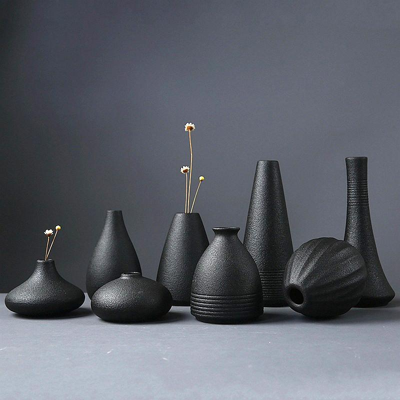New Black Ceramic Flower Arrangement Small Vase Home Decoration Small Vase Tabletop Ornament Crafts