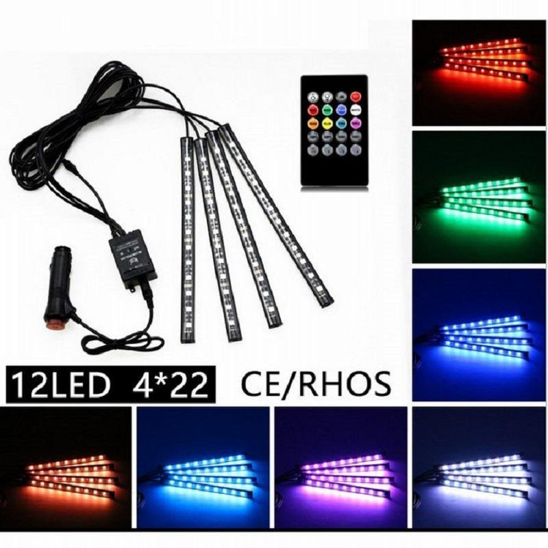 4in1 48 48 led 22 سنتيمتر متعدد الألوان الموسيقى + التحكم عن بعد مرنة سيارة الصمام قطاع أضواء الداخلية الزخرفية الجو النيون مصباح LED ضوء لاسلكي