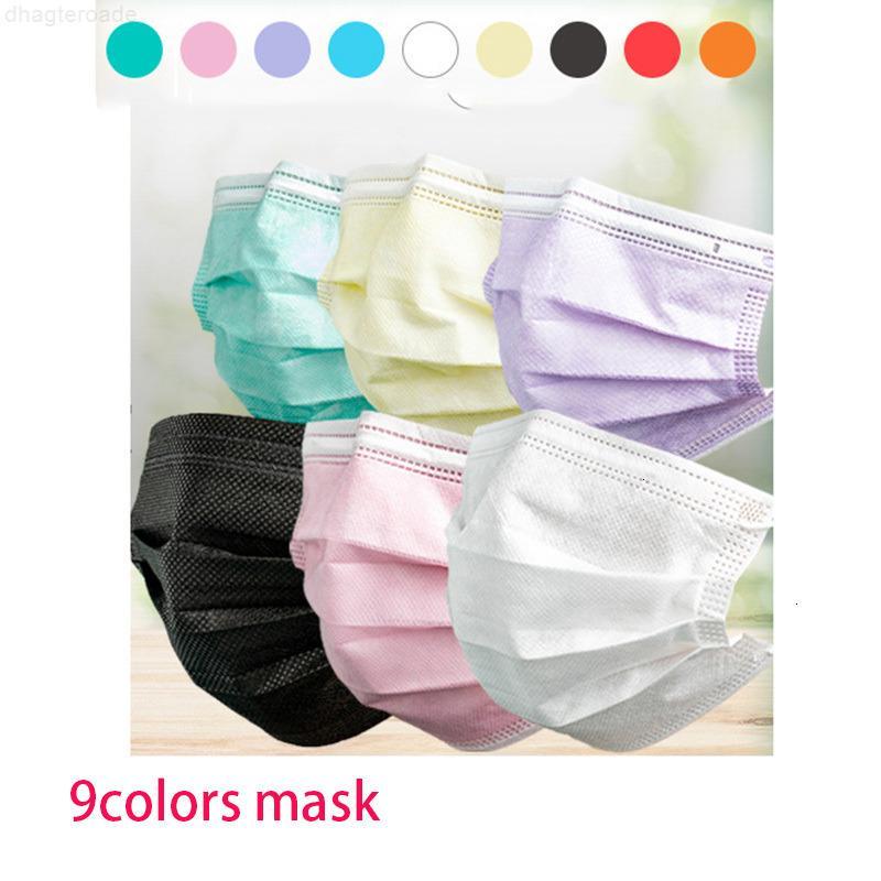 Взрослые 3 DHL маски красочные маски одноразовые лица слой балк серый розовый пыль крышка ртом 3-слоистый нетканый