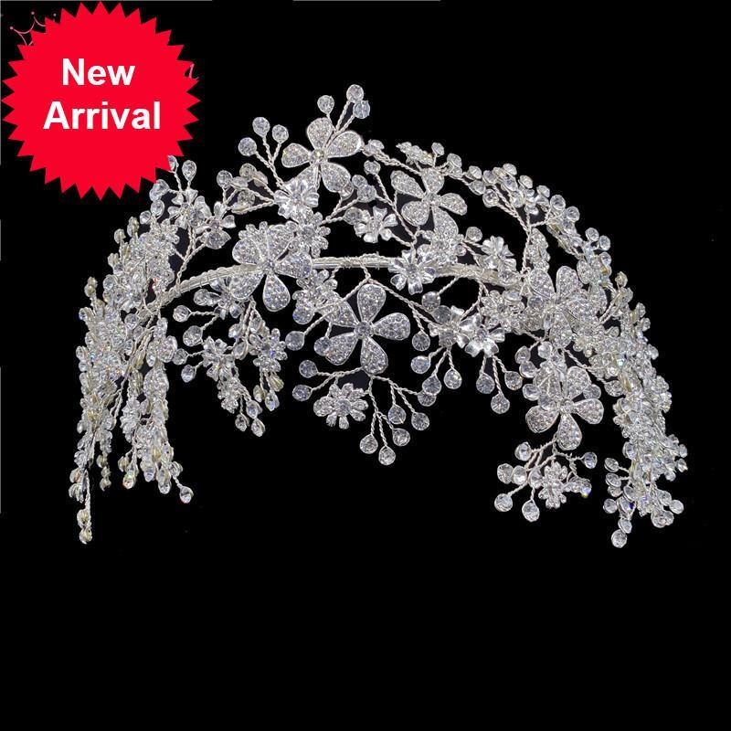 Bandeaux de cristaux de mariée élégants Strass Tiara Bandes de poils Headpiece Femmes Accessoires pour cheveux de mariage à la main RE3538