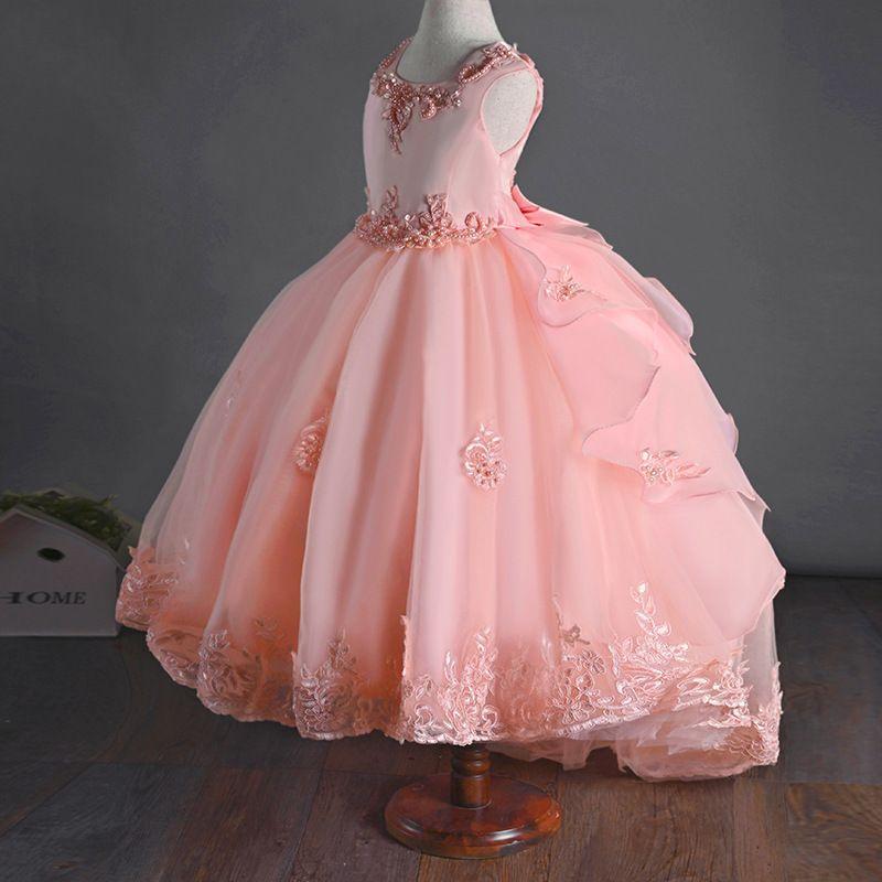 Big Bow Embroidered Flower Girls Mermaid tail kids dress for girls princess wedding dress for Gown Beading Children's dress