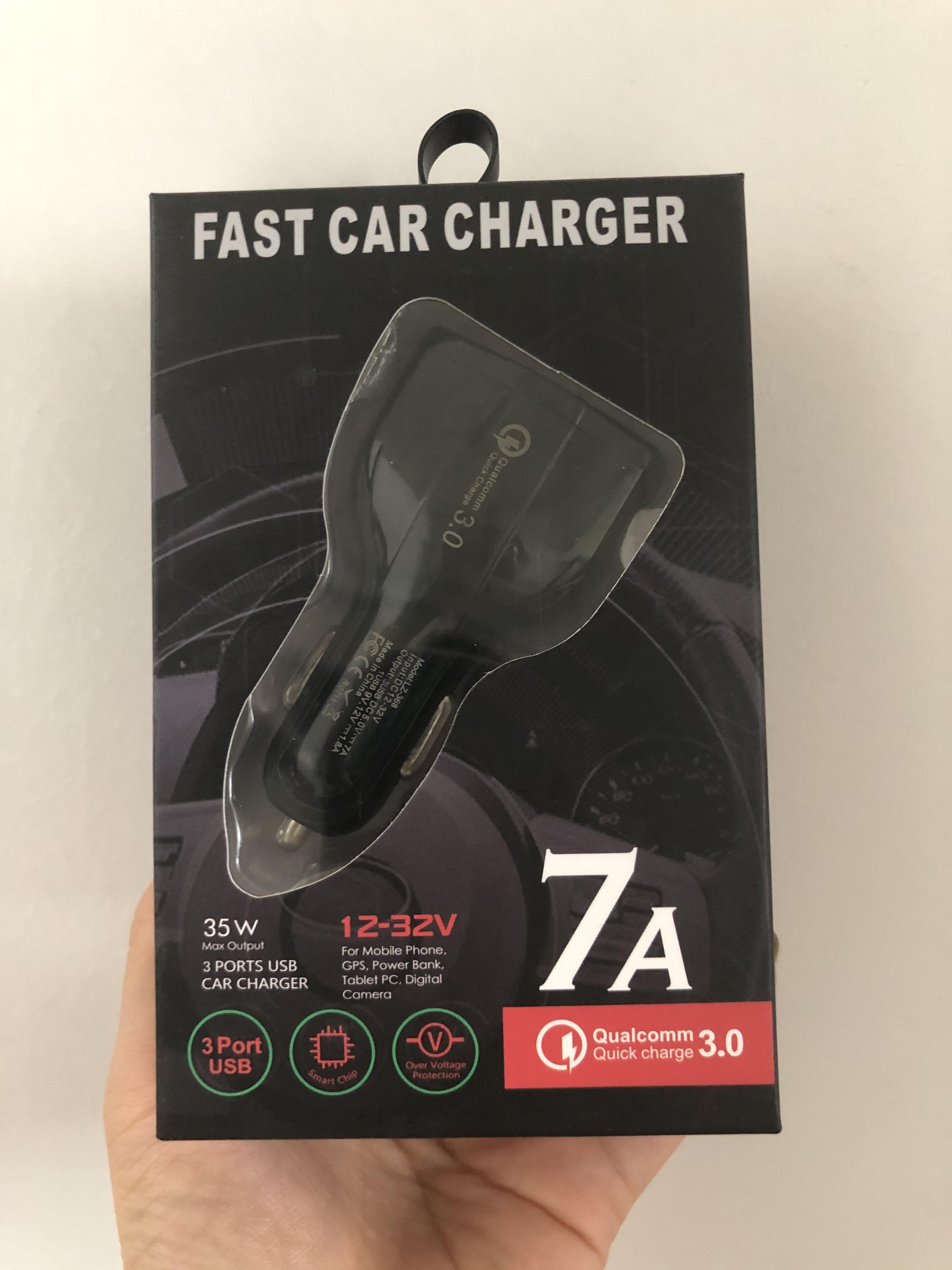 35W 7A 3 portas Carregador de carro Tipo C e USB Carregador QC 3.0 com Qualcomm Quick Charge 3.0 Tecnologia para telefone