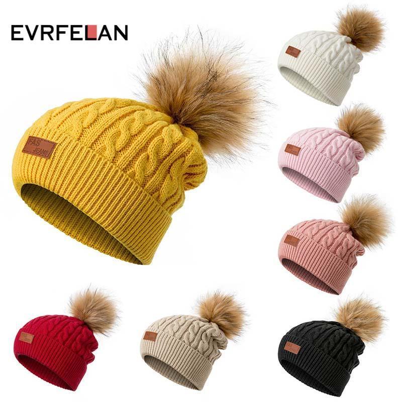 Chapéu de Gorro de Inverno Evrfelan para Mulheres Confecção de Calássis Gosquinhos Senhoras Casual Cor Sólida Pompom Malha Chapéu Carta de Alta Qualidade