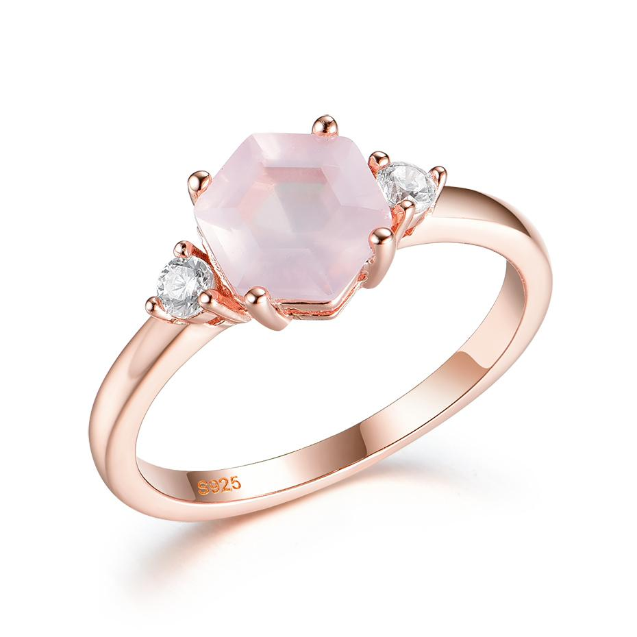 Kuololit 585 gold Natural Rose Quartz Gemstone Women 925 Sterling Silver Hexagon Luxury Ring for Engagement Gifts Q1214
