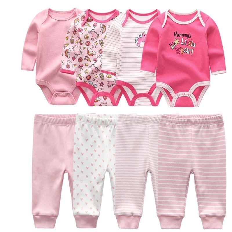 Algodão recém-nascido manga comprida bebê ternos unisex meninas Bodysuit + calça infantil crianças roupas conjuntos de desgaste das crianças Y200803