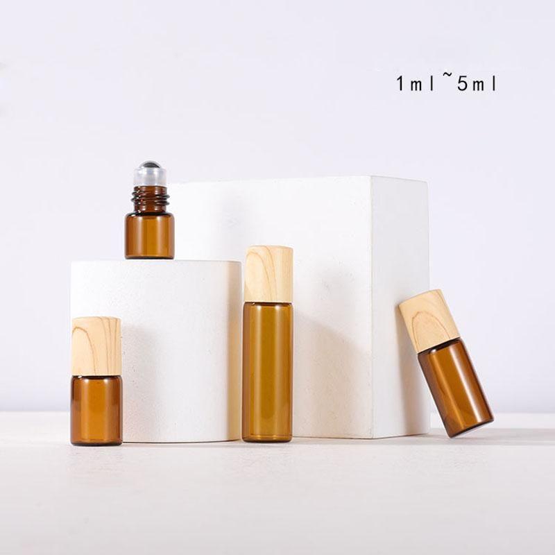 1 мл 2 мл 3 мл 5 мл мини-роликовых шариковых бутылок для эфирных нефтяных парфюмерии на стеклянной бутылке с пластиковой деревянной зерновой крышкой