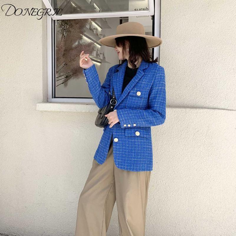 Hohe qualität blaue tweedjacke frauen 2021 neue frühling herbst korea stil kariert long sleeve office dame anzug mantel mujer femal