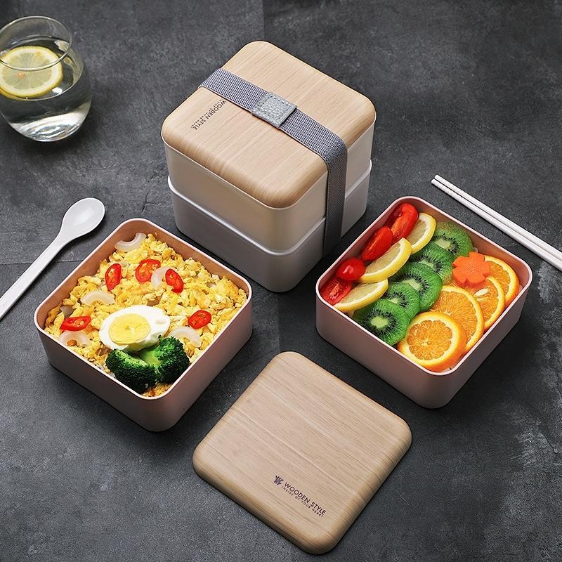 Здоровье обед коробка высокой емкости двойной слой с столовыми приборами еда контейнер открытый офисный школа портативный Bento Box установлен 1400мл 201015