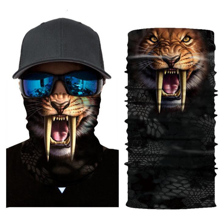 Sihirli Eşarp 3D Dijital Baskılı Güneş Kremi Hayvan Spor Maskesi Açık Sürme Maskeleri Yaka Sihirli Türban Özelleştirme Moda Yüz Bisiklet Maskesi