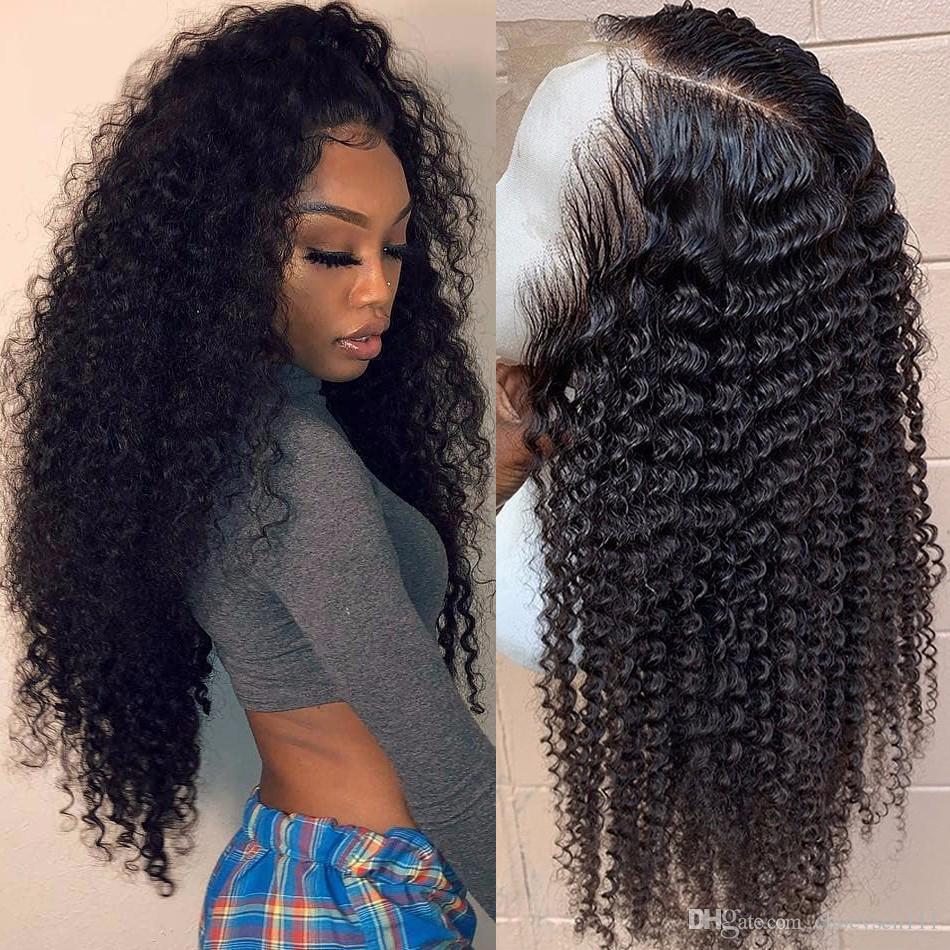 레이스 프론트 인간의 머리 가발 13 * 4 브라질 변태 곱슬 머리 가발 아기 머리 곱슬 레이스 프론트 가발