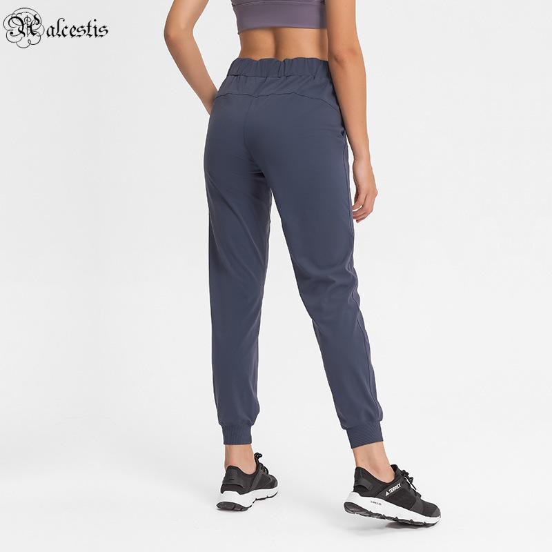 2021 cintura elástica ioga calças simples esportes reta e lazer cintura elástica nove pontos calças mulheres