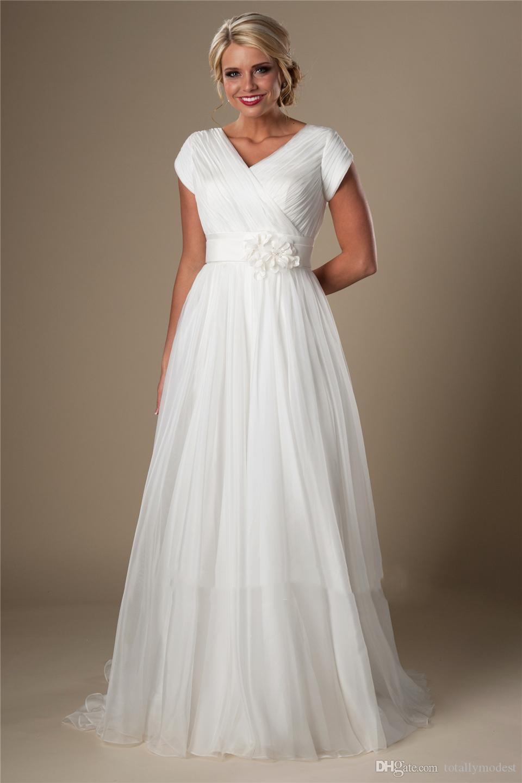 아이보리 Ruched 쉬폰 해변 모자 슬리브 V 넥 A 라인 사원 신부 가운 비공식 웨딩 드레스 새로운 저렴한 웨딩 드레스