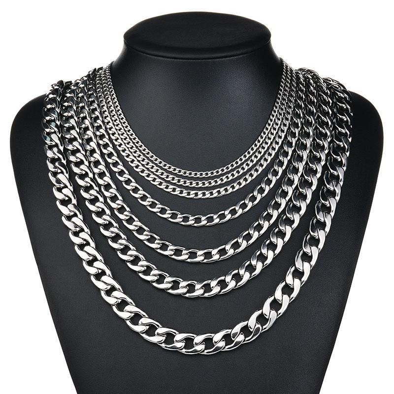 316L Stainless Steel Hip Hop Silver 18k Gold Fashion Big Thick Wide Men's NK Link Chain Cuba Punk Gothic Necklace Jewelry 3MM to 13MM Width