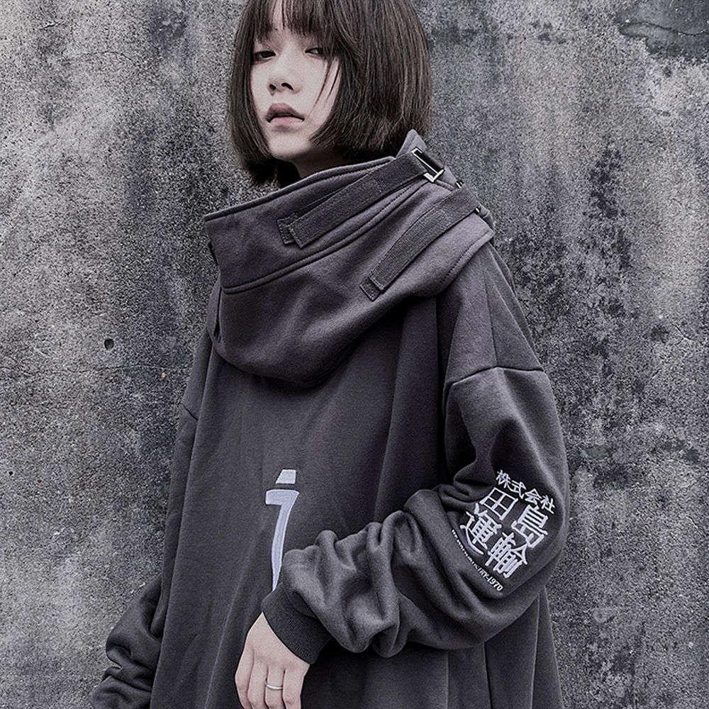Punk Ropa Calle, Rock Japonesa Gris, Sudadera con Capucha Mujer, Divertida de Hip Hop Para