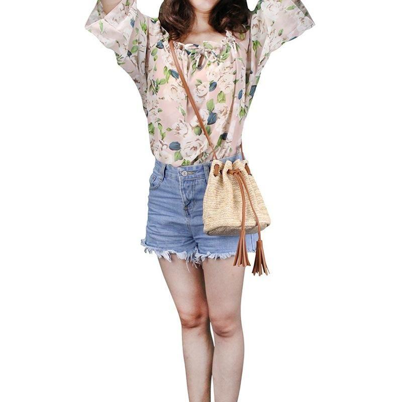 Bolsa de hombro Bolso Bank Money Bolsas de Crossbody con tejido de verano Tasseles de punto Señoras Tejido Mujer Tela Playa Playa Bolso Xfleg