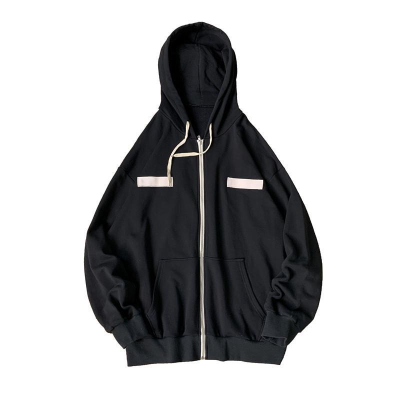 Erkekler Ceketler Yan Gevşek İpli Baskılı Oversize Kapşonlu Streetwear Kore Style Yakışıklı Boş Herşey maçı palto Cepler