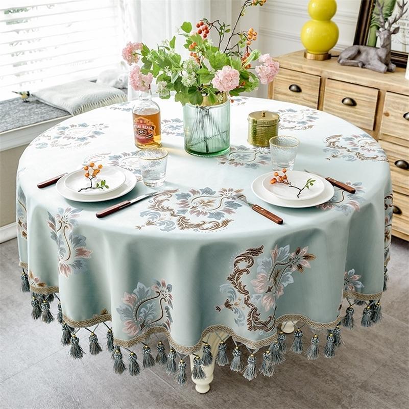 Европейский стиль роскошный жаккардовый скатерть с кисточкой для свадьбы день рождения вечеринка круглый стол настольный стол для домашнего декора LJ201223