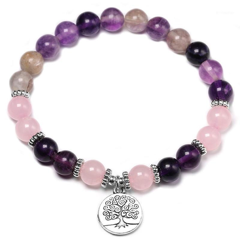 Bracelet de yoga de la fluorite pourpre naturel Fashion Girl de rose Chakra Bijoux de chakra Nettoyant Cristaux de guérison Bracelet Cadeau du poignet1