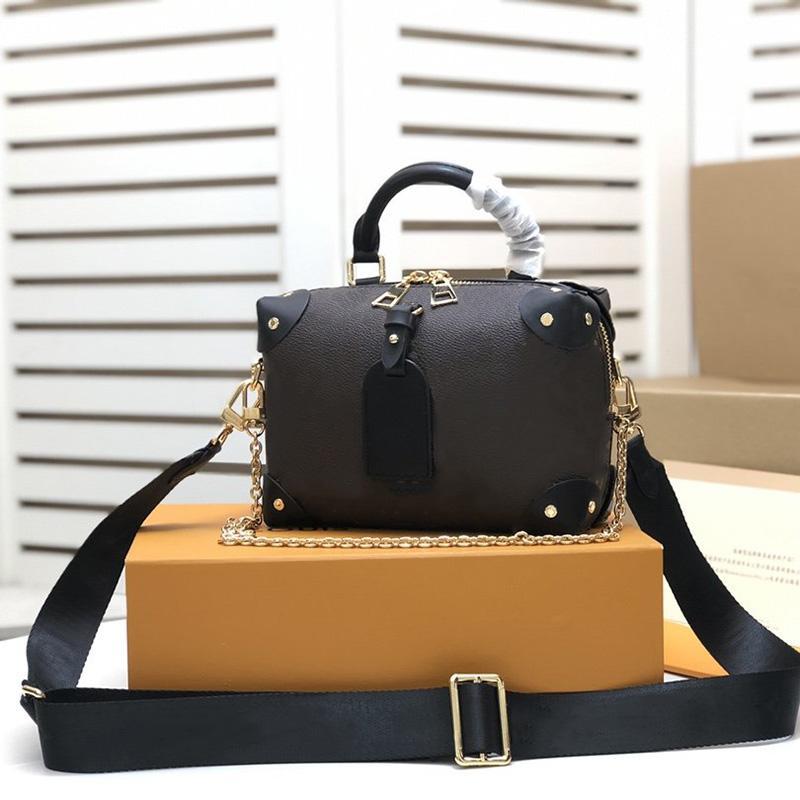 Mujeres Petite Malle Souple Handbags Bolsa de diseñador Peach Canvas Cuero Cuero de Cuero Bolsas de Hombro Mejor Calidad Bolsa de Crossbody con caja