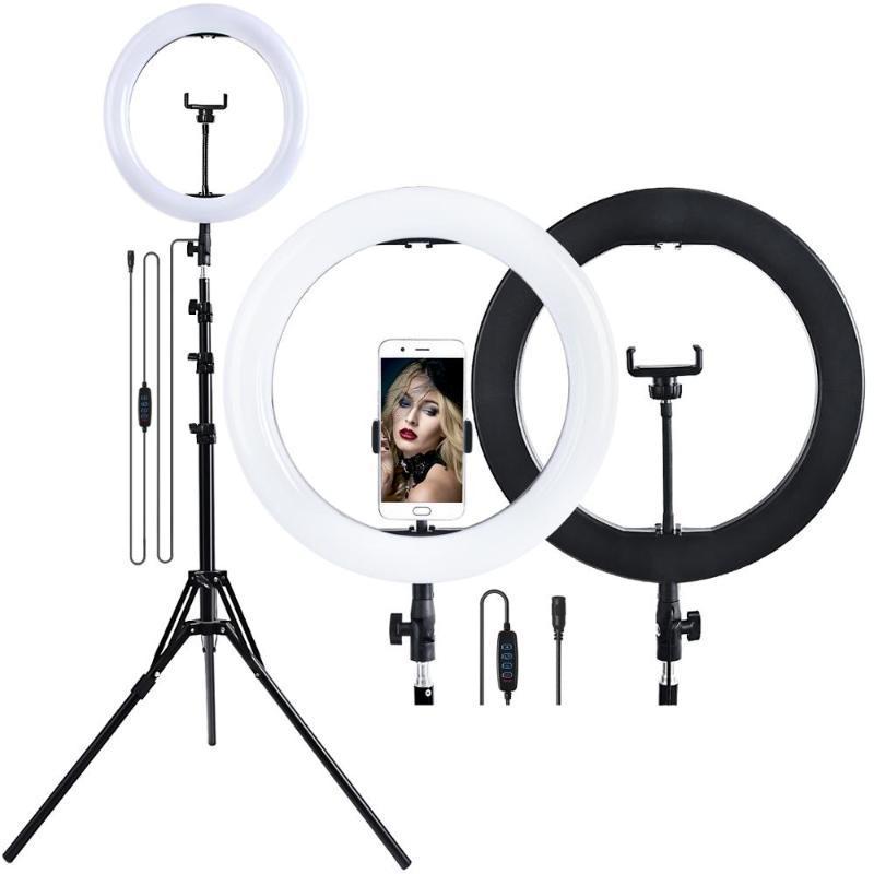 Fosoto 14 Zoll LED Ring Light Photography Beleuchtung Ringlicht 2900-5600K Video Ringlampe mit Stativ zum Telefon Make-up YouTube