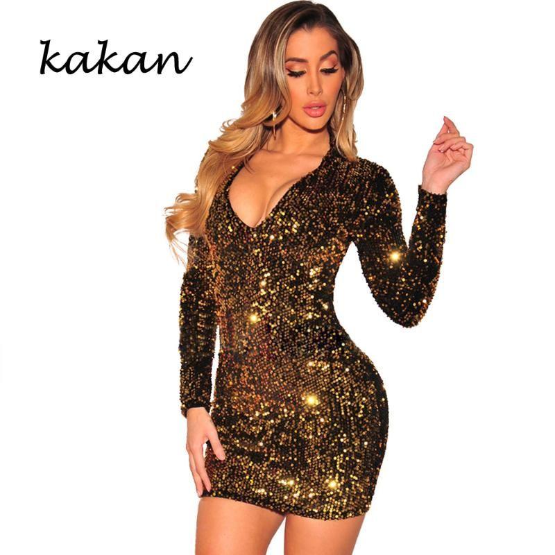 Kakan 2020 Printemps Nouvelle robe de paillettes pour femmes Slim Robe à paillettes Sexy NightClub Club Party