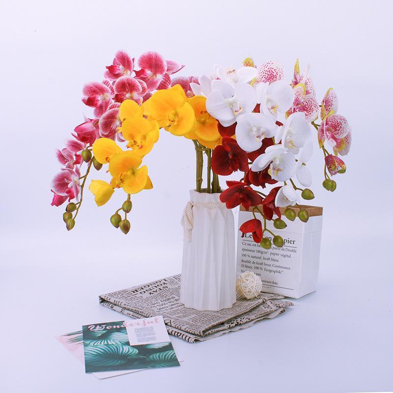 الزهور الزهور اكاليل ثلاثية الأبعاد الطباعة الاصطناعي الأوركيد فراشة وهمية للمنزل الزفاف الديكور الحرير