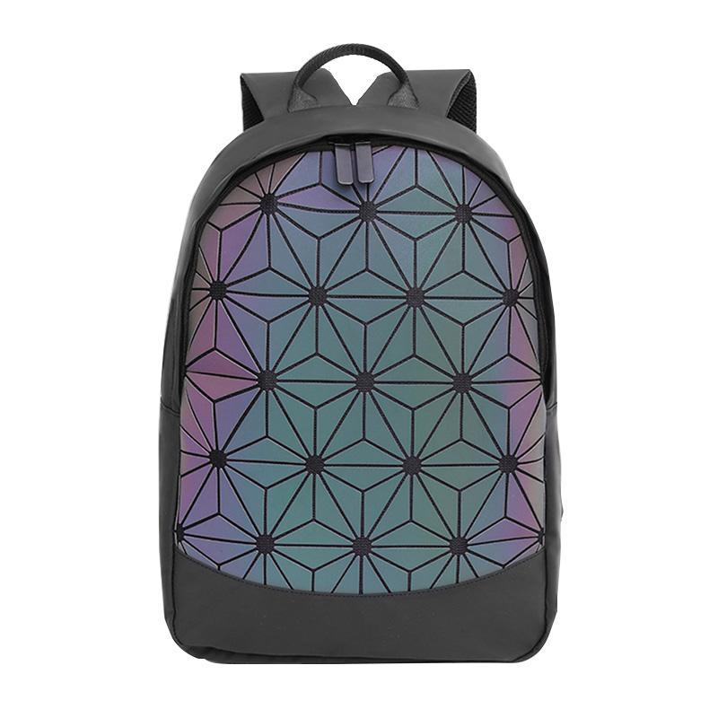 Realer Frauen Rucksack Schultaschen für Teenager-Mädchen 2020 Bag Pack Faltbare Geometrische leuchtende Rucksack Holographische Refretion