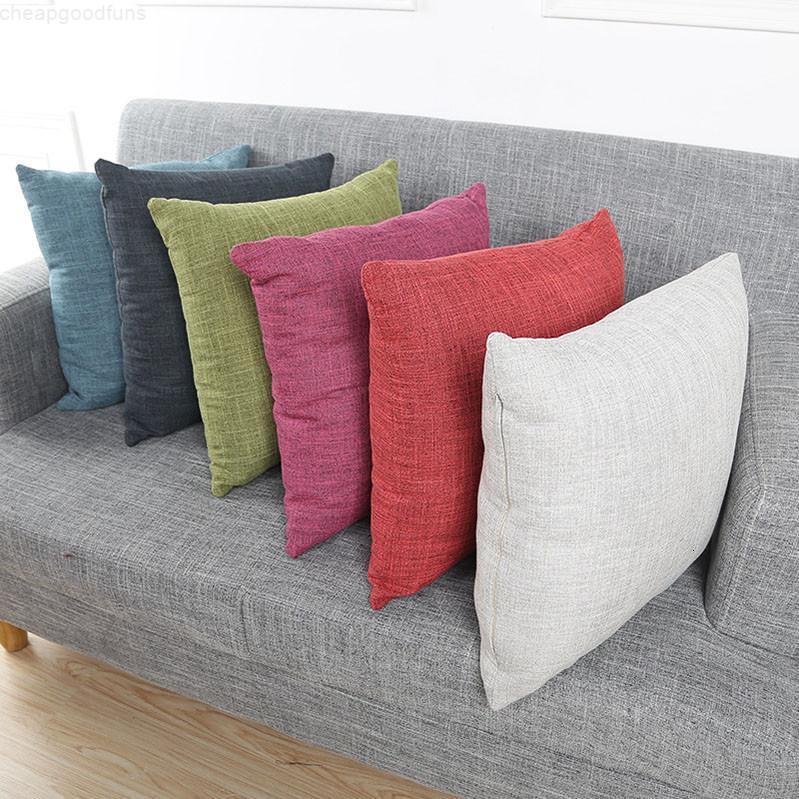 Venda quente cor sólida linho travesseiro caixa criativa fronha macia e confortável capa de almofada epacket