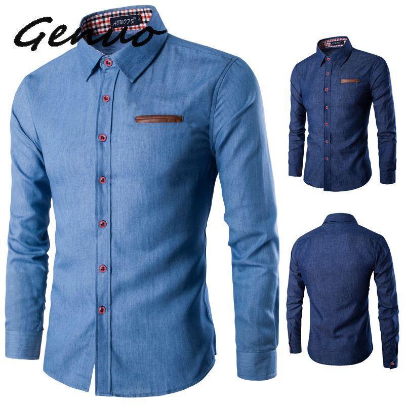 Мужские повседневные рубашки Genuo 2021 бренд весна осень с длинным рукавом мужская рубашка хлопчатобумажная деловая стройная стрит