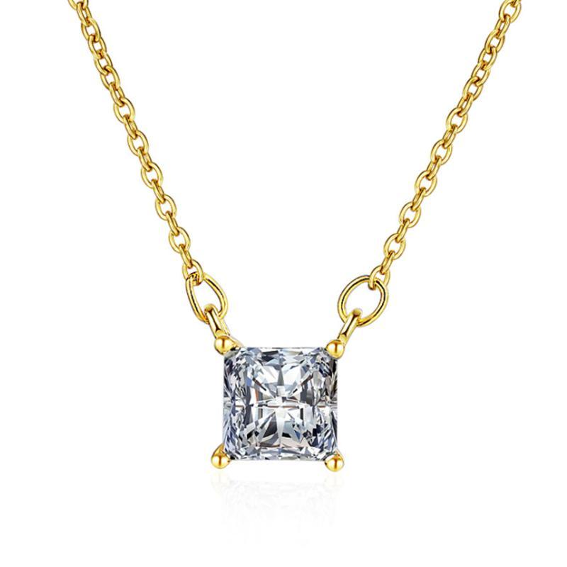 Trendy 925 Sterling Silber Zirkon Halsketten Glänzend Quadrat Kristall PendantsFor Frauen Engagement Choker Fine Schmuck