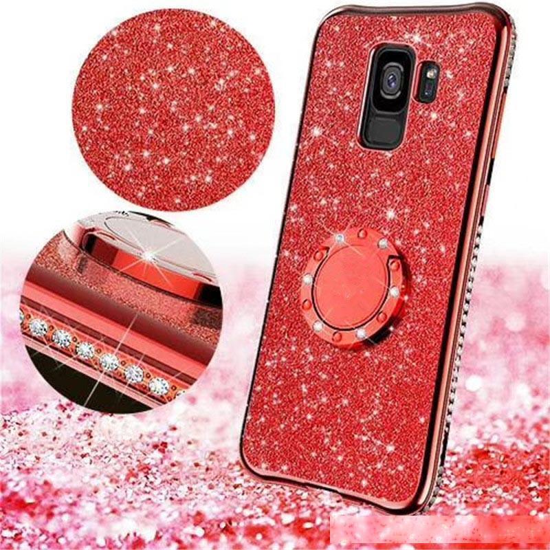 Полная защита TPU блеск задняя кольца телефона оболочка горный хрусталь алмаз гальванический бампер чехол для iPhone Apple 7 8plus XR X MAX для Samsung