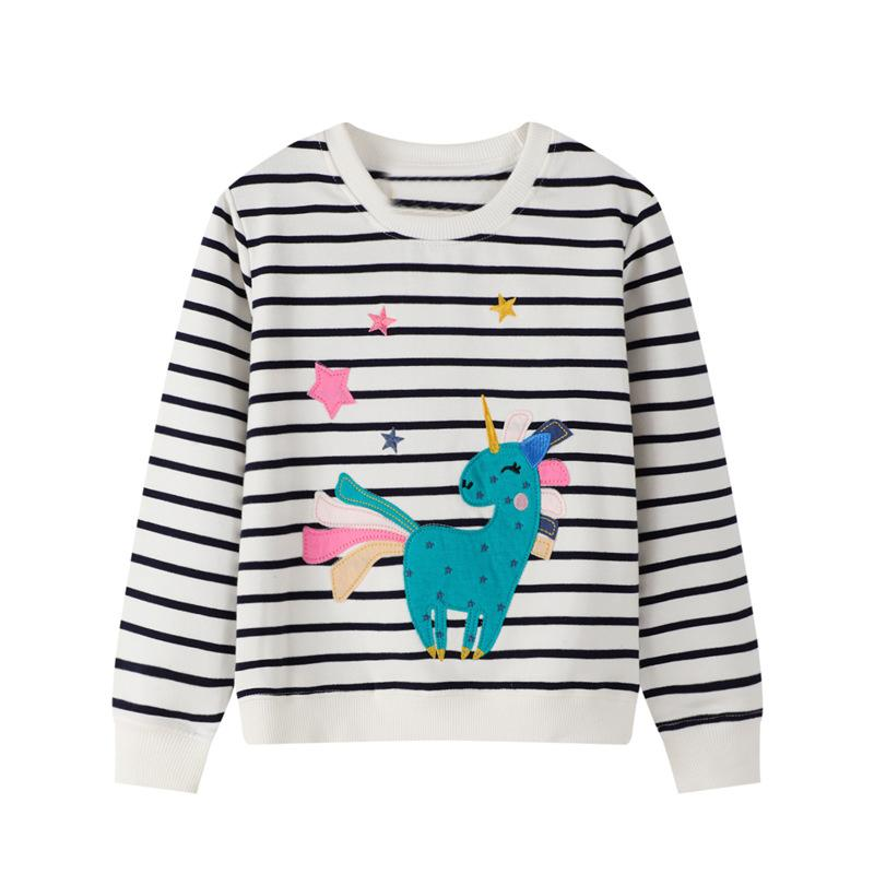 Little Girls Sweatshirts 2020 Autumn Cartoon Unicorn Kids Clothes Cotton Children's Clothing Girls Garment