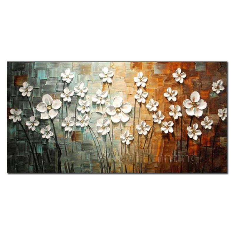 Frete grátis para venda de parede de parede pintado à mão abstrata flor branca pintura a óleo de pintura de casa para sala de estar Unframed HF0020