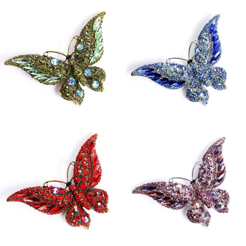 Crystal Big Butterfly Broche Broche Animal Insecte Dame Opond Accessoires Mode Strass Allier Broches Nouvelle arrivée 7 8MT P2