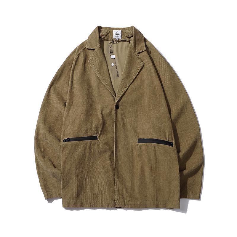 일본 레트로 카키 코듀로이 정장 재킷 망 지퍼 포켓 느슨한 캐주얼 바지 하이 스트리트 싱글 버튼 가을 코트