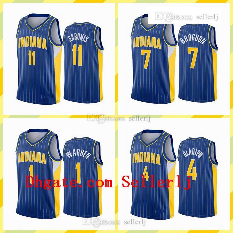 Hommes Imprimer Victor Oladipo 7 Brogdon 11 Sabonis 1 Warren IndianaPacteurJersey 2020-21 Blue City Basketball Jersey