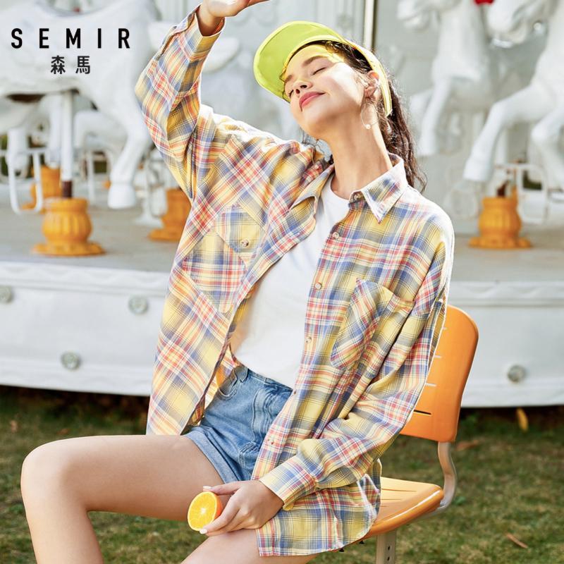 Semir Chemise à carreaux Femmes 2020 Printemps Nouveau Chic Western Style Design Shirt à manches longues en coton en vrac