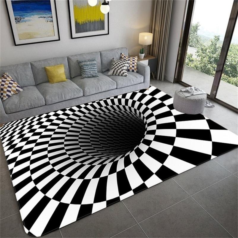 홈 장식 거실 복도 러그 인쇄 카펫 3D 환상 Vortex 바닥리스 구멍 바닥 카펫 Antiskid 매트 Dropshipping 201225