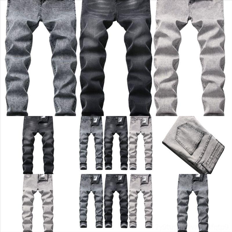 JP6O Men Jeans Pants Perforated Waist Punk Slim Elastic Pants Mid Paint Washcloth Soft skinny blue rip Men's jeans High Jeans, Counter