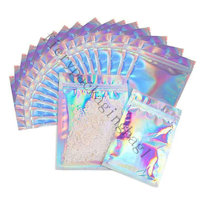 100 Parça Sıfırlanabilir Mylar Çanta Holografik Renk Birden Çok Boyutu Koku Geçirmez Çanta Temizle Zip Kilit Gıda Şeker Depolama Ambalaj Çanta D0